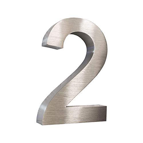 Metzler-Trade 3D-Hausnummer Nr. 2 aus Edelstahl (V2A - gebürstet) - rostfrei & witterungsbeständig - 20 x 3,5 cm (Höhe x Tiefe) groß - modernes Design - inkl. Montagematerial
