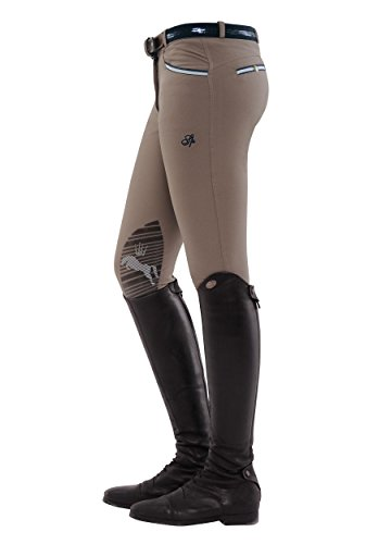 SPOOKS Damen Reithose Kniebesatz, Damenreithose Reithosen Turnierreithose Kniebesatzreithose Reiterhosen - Ricarda Knee Grip, Beige XXS