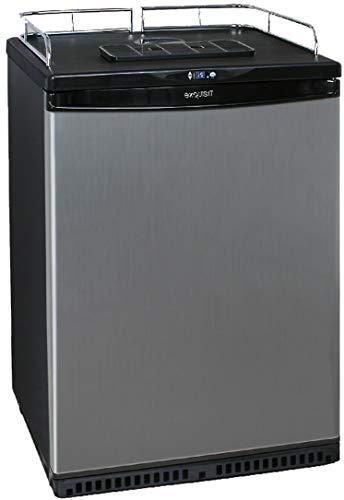 Exquisit BK160 Fassbierkühlschrank bis zu 50L Fässer BK 160, Kunststoff, Schwarz, Edelstahl
