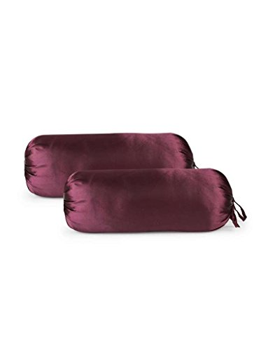 First Row Glossy Maroon Satin Bolster Cover Single pc