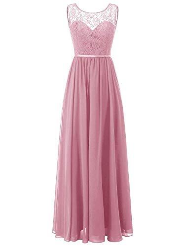 Ballkleider Abendkleider Damen Lang Brautjungfernkleider Hochzeitskleider A Linie Altrosa EUR38