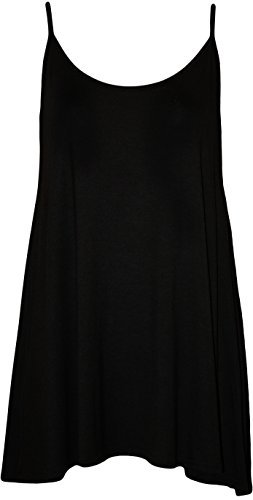 Plus Size Womens Plain Strappy Sleeveless Ladies Swing Cami Vest Top - 16-22 Test