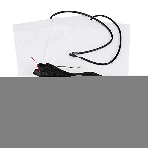 Carbon Auto Sitzheizung Kit Sitzheizung Kissen Universal 2 stücke Sitzheizung Pads Element Abdeckungen Haating Matten mit Runden Schalter für Autos(2*Heater Pads + 1*Switch)