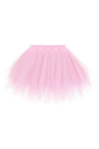Damen Tutu Rock Tüllrock Unterrock für Rockabilly Kleid Rosa ()