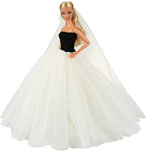 Miunana abito vestito da sposa grande lussuoso spalle scoperte + velo per 11..5 pollci 28 - 30 cm bambola (beige)