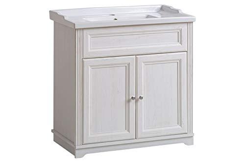 Jadella Waschbeckenunterschrank \'Nevio W\' Waschtisch Waschbecken Badmöbel 80cm Weiß Pinie