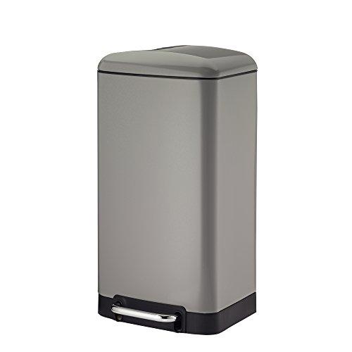 Premier Housewares Soft Close Coperchio pattumiera a Pedale Argento in Acciaio Inox 23/x 17/x 25.5/cm