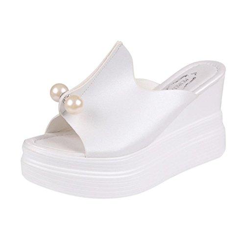 Kkangrunmy tacchi donna eleganti, tacchi sposa scarpe donne estive,pantofole spessore-fondo solido pearl impermeabile zeppa sandali (35, bianca)