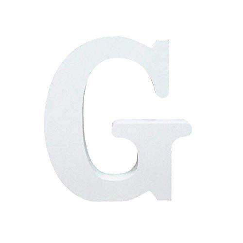 Lettres en Bois, Toifucos 10cm A-Z DIY Alphabet Anglais Ornaments D'artisanat pour Accueil Mariage Anniversaire Décoration de fête Accessoires, Blanc 1 pcs G