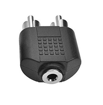 SeCro 2 RCA Male to 3.5 mm AUX Stereo Female Jack Connector Convered AV Video Y Splitter Cable Adaptor