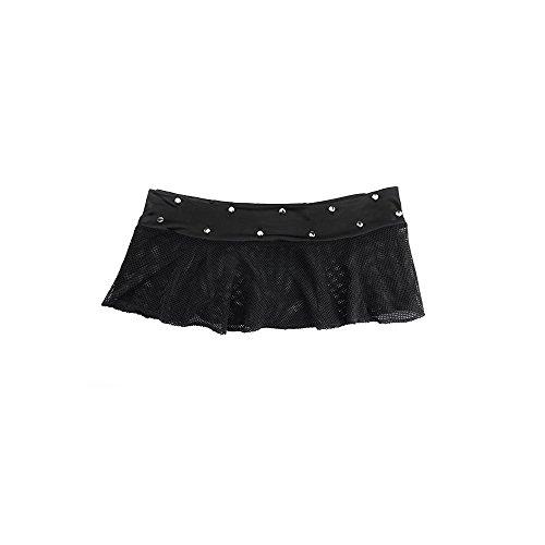 SESY Damen Sexy dreiteiliges Dessous in Netzoptik, Neckholder Top BH und Mini Rock mit String, Set in Schwarz