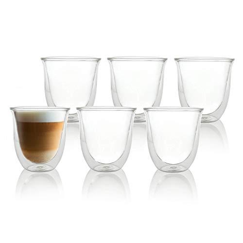 Q Sharp Le Cafetiere - Set di tazze da cappuccino, 6 x 200 ml, 11 x 10 cm, a doppia parete, in vetro borosilicato trasparente, per tè, caffè, latte, cappuccino, espresso, birra, resistenti al calore