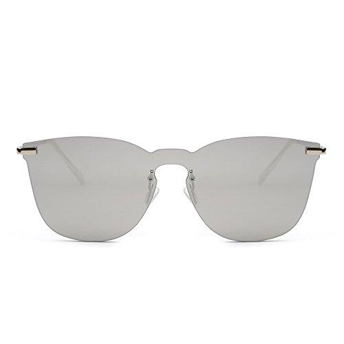 JIMHALO Randlos Verspiegelt Sonnenbrille Ein Stück Metall Flach Brille Herren Damen(Silber/Spiegel Silber)