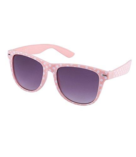SIX Trend Retro Sonnenbrille in rosa mit weißen Polkadots (324-243)