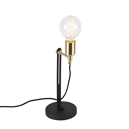 QAZQA Modern Moderne Tischleuchte/Tischlampe / Lampe/Leuchte schwarz mit Messingakzenten - Slide/Innenbeleuchtung / Wohnzimmer/Schlafzimmer / Küche Metall Andere LED geeignet E27 Max. 1 x 60 - Slide Licht Dimmer