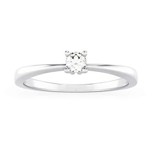 Anello solitario donna elisa in oro bianco 18kt e palladio con diamanti