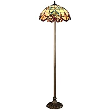 Tiffany style real stained glass floor lamp amazon lighting tiffany style real stained glass floor lamp mozeypictures Gallery