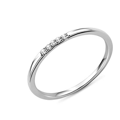 Miore MP9013RO - Anillo de mujer de oro blanco (9k) con 5 diamantes (talla: 14)