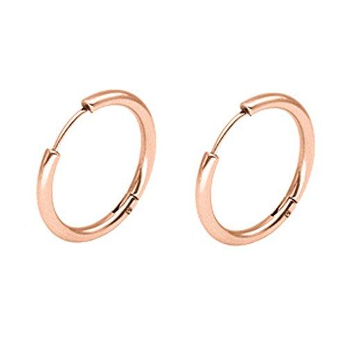 KnSam Orecchini Acciaio per Uomo Donna PUNK 1 Coppie Pierced Orecchini Oro Rosa 10MM