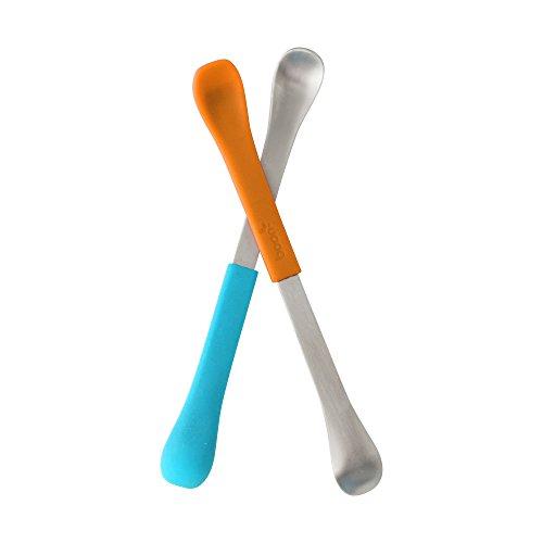 Boon SWAP - 2x Kinderlöffel 2-in-1 in Blau/Orange aus Silikon und Stahl   Doppellöffel mit zwei unterschiedlichen Strukturen