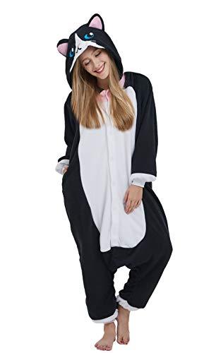 DELEY Unisex Erwachsene Tieroutfit Pyjamas Schlafanzug Cosplay Verkleiden Kostüme OneSize Jumpsuit Tierkostüme Katze-2 Größe M