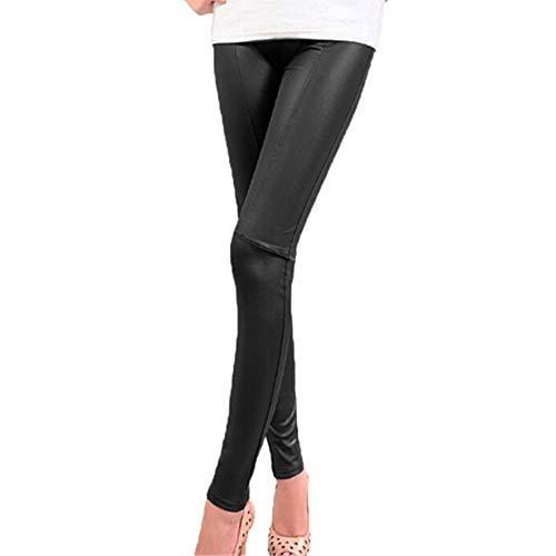 GLOGLOW Pantalón PU Cuero Mujer Conformación elástica