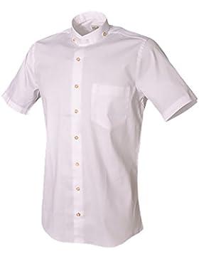 Trachtenhemd Alessio kurzarm weiß Stehkragen Almsach
