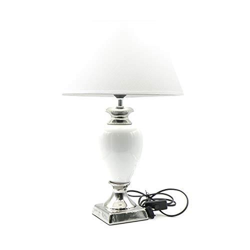 Elegante stilvolle Barock Tischlampe, weiß, Keramik mit Stoffschirm, 56 cm hoch