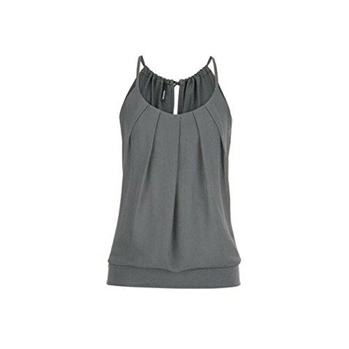 SEWORLD T-Shirt Damen Frauen Sommer Lose Geknitterte O-Ausschnitt Cami Tank Tops Weste Bluse (Grau, S)