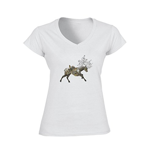 Deer Animal Wood Creature Horns Art Green Running Damen V-Neck T-Shirt Weiß