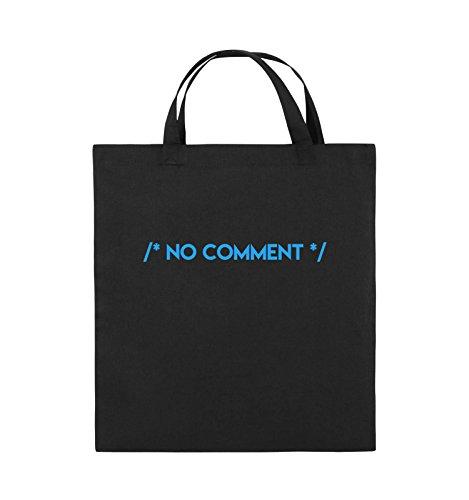 Comedy Bags - NO COMMENT - Jutebeutel - kurze Henkel - 38x42cm - Farbe: Schwarz / Silber Schwarz / Blau