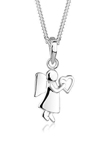 Elli Damen Schmuck Halskette Kette mit Anhänger Engel Herz Schutzengel Liebe Freundschaft Silber 925 Länge 45 cm