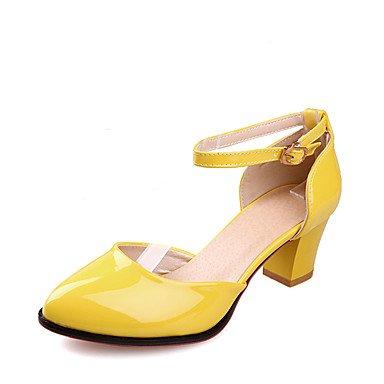 LvYuan Da donna-Sandali-Matrimonio Formale Serata e festa-Altro D'Orsay-Quadrato-Vernice-Blu Giallo Verde Rosso Bianco Tessuto almond Yellow
