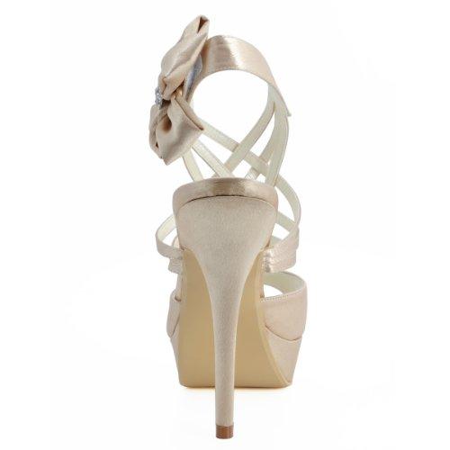 Elegantpark EP2031-PF Femme Bout Ouvert Plateau Aiguille Fleurs Multi bride Sandales Chaussures De Mariage Mariee Champagne