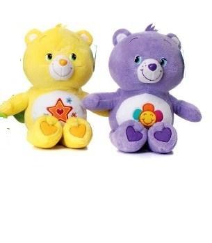 2-peluches-bisounours-28-cm-1-jaune-1violet