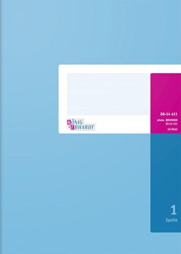 32 Spalte (König & Ebhardt 8614411-610K40 Spaltenbuch fester Kopf (A4, 1 Spalte, 40 Blatt) blau)