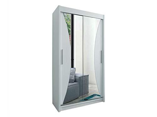 Kryspol Schwebetürenschrank Monaco 100 cm mit Spiegel Kleiderschrank mit Kleiderstange und Einlegeboden Schlafzimmer- Wohnzimmerschrank Schiebetüren Modern Design (Weiß) -