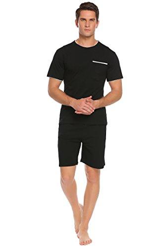Herren Shorty Schlafanzug kurzarm mit 3 Taschen und Elastische Taille Sleepshirt Schlafanzüge aus Baumwolle leicht Atmungsaktiv Pyjama set Schwarz
