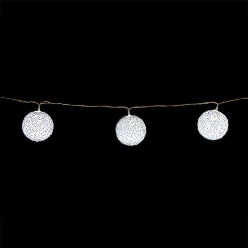 AC-Déco Guirlande LED - Boules Blanches - Décoration de Noël