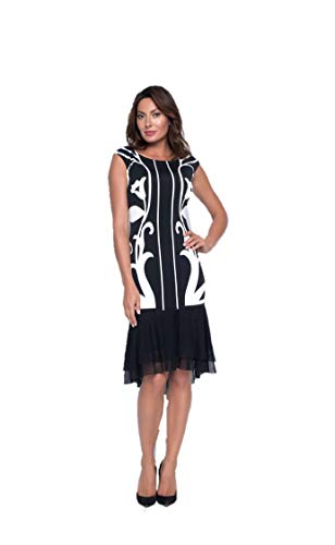 Frank Lyman Black & Cream Knit Dress Style 193252 - Fall 2019 Collection