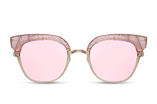 Cheapass Sonnenbrille Cat-Eye Rund-e Gläser Verspiegelt Rosé-Gold Metallrahmen Damen Frauen