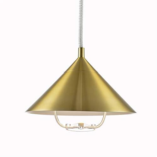 Zceillamp Erweiterbare Gold Hängepartichten Europäische Kronleuchter Pendant Lights mit Handle Iron Shade E27 Bulb-Cafe Bar Loft Bedroom Dining Room Lighting Decoration Lampe,L -