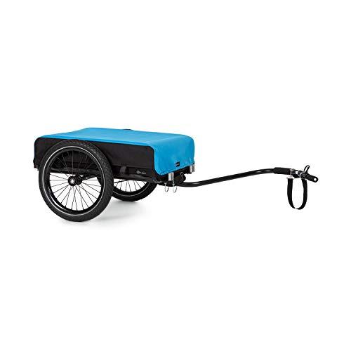 """Klarfit Cargo Bull Fahrradanhänger Lastenanhänger Handwagen,Ladefläche: 42x63 cm (BxT) / ca. 50 Liter / 2 Getränkekästen, 40kg Ladegewicht,pulverbeschichteter Stahlrahmen,16\"""" Räder, schwarz/blau"""