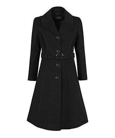 Anastasia - Frauen Winter-Kaschmir mit Gürtel Mantel, Schwarz, Größe 48