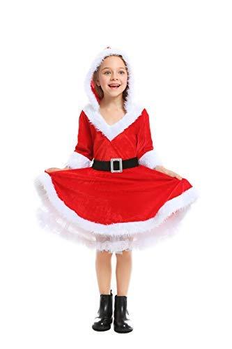 Fanessy. Damen Mrs. Santa Claus Kostüm für Kinder Mädchen Sexy Weihnachtskleid mit Kapuze und Gürtel Weihnachtsfrau Kostüm Kind Erwachsenen Verkleidung Cosplay Outfits für Weihnachten Party (Mrs Claus Kostüm Kinder)