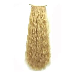 SODIAL(R) 22(55cm) 90g kinky curly ribbon ponytail hairpiece hair pieces clip in hair extensions color 25 Golden Blonde