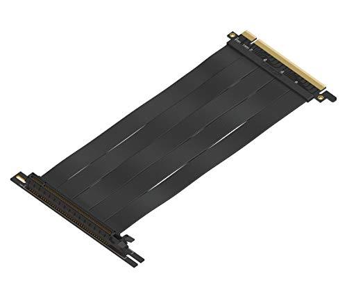LINKUP {20 cm} PCIE 3.0 16x Riser Cable Super Abgeschirmt Twinaxial PCI Express Steigleitung Kabel Portverlängerungs-Platte 2020 Rev | 90 Grad Buchse