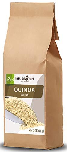 Mr. Brown BIO Quinoa weiß 2,5 KG   BIO Quinoa 2500g   2,5 kg   aus kontrolliert biologischem Anbau   abgefüllt in Bayern