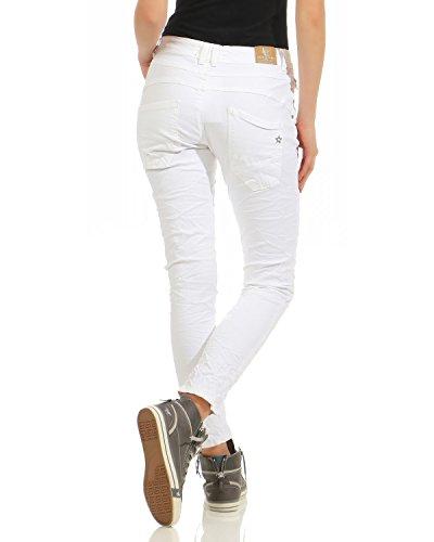 Lexxury Chino Jeans donna Pantaloni elasticizzati jeans Pantaloni larghi boyfriend con cerniera usata hip-hop lavato L8081 Bianco