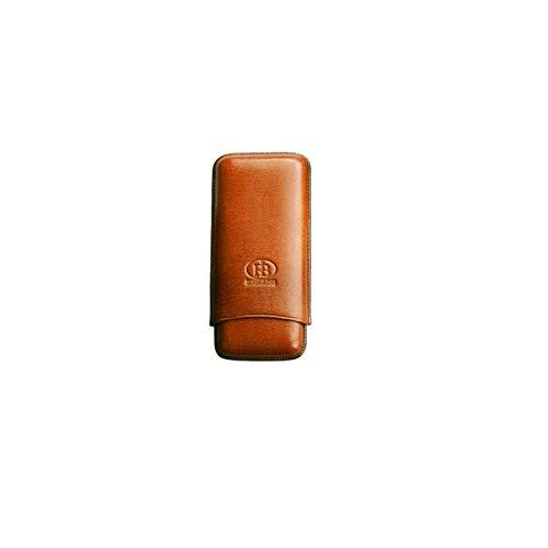 Cigar Leather Case FBVER Portasigari in Vera Pella per Tre sigari (Marrone)